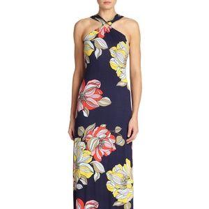 Trina Turk Demi Navy Floral Halter Maxi Dress M